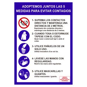 Cartel 5 medidas de de seguridad para evitar contagios