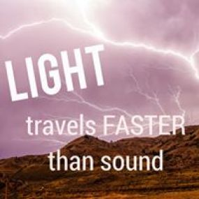 photo of lightning and a words on the picture that tells - Light travels faster than sound
