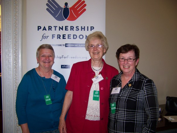 US Catholic Sisters Against Human Trafficking Steering Committee: Ann Oestreich, IHM, Anne Victory HM, and Kathleen Cole, SSJ.