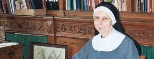 Mother Rita-Elizabeth in the library.