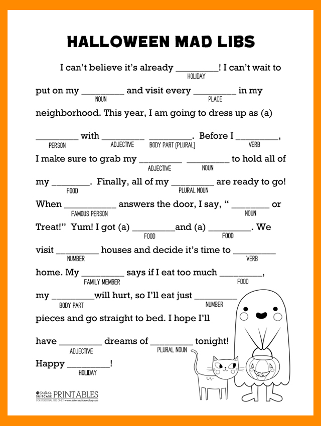 image relating to Halloween Mad Libs Printable called Young children Insane Libs Printable Cost-free - Upon Log Wall