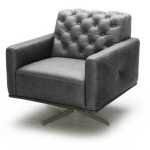 Cassio Italian Leather Swivel Chair In Black