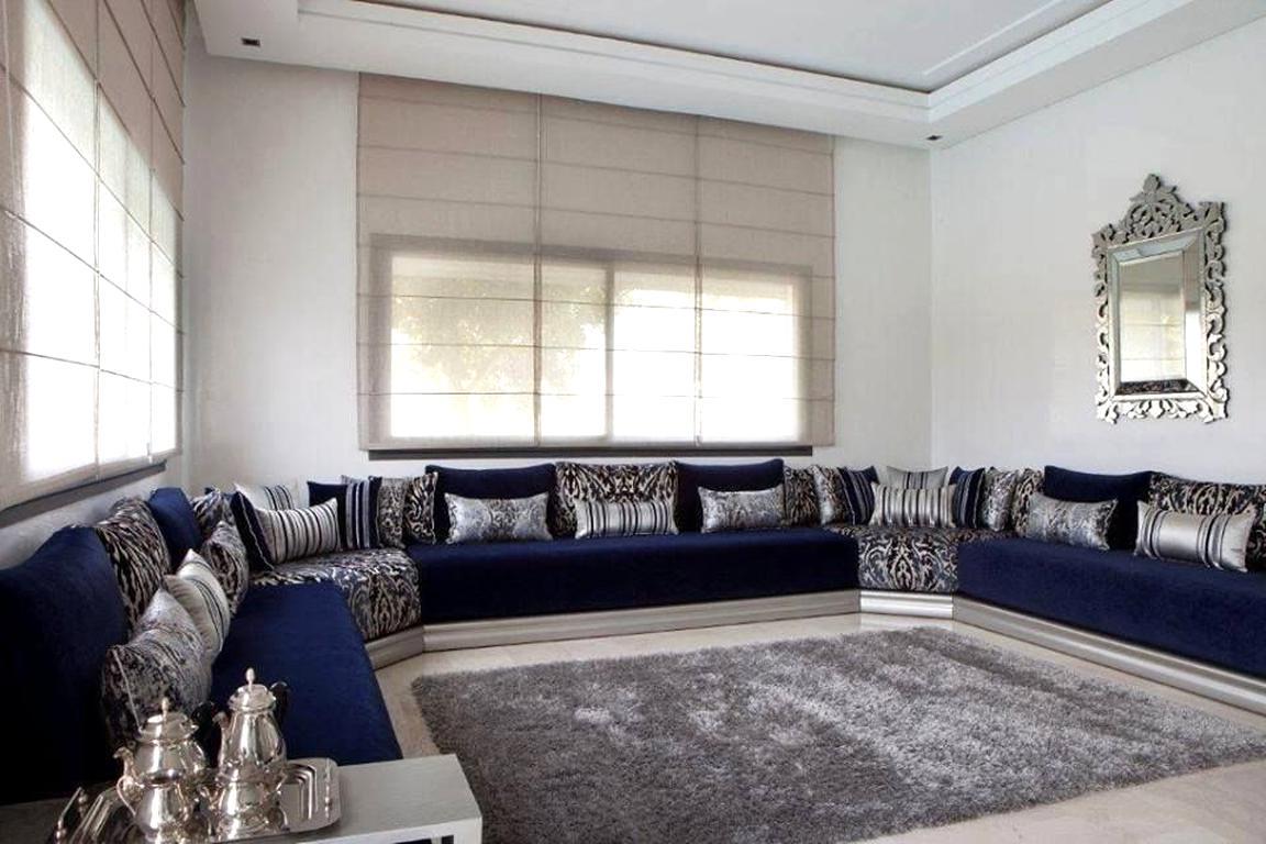 Salon Marocain Moderne Bleu Canard Sema
