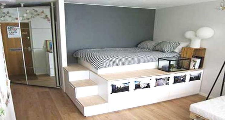 lit estrade avec rangement venus et judes