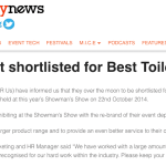 Site Event Shortlisted for Best Toilet Supplier – Event Industry News – September 2014