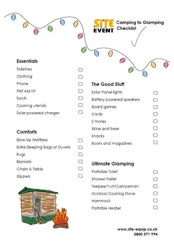 Site Event - Camping to Glamping Checklist