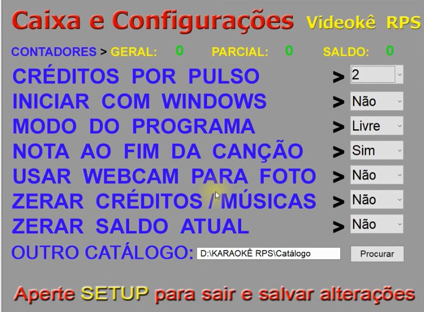 sitema de configuração karaoke raf