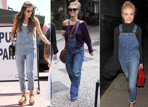 Celebridades usando macacão jeans