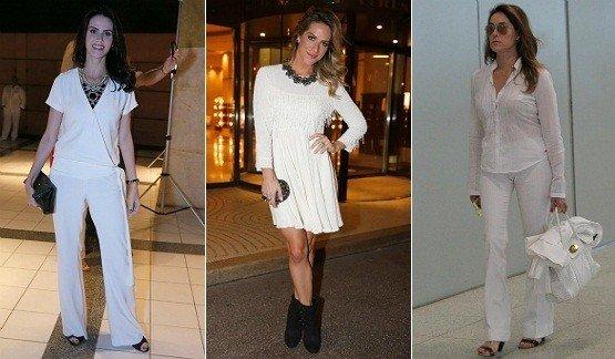 celebridades Lisandra Souto, Giovanna Ewbank, Christiane Torloni usando a moda do branco total
