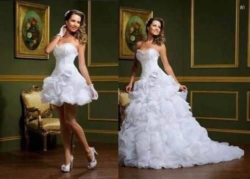 modelos de vestidos de noiva dois em um com falsas saias, longos que viram curtos