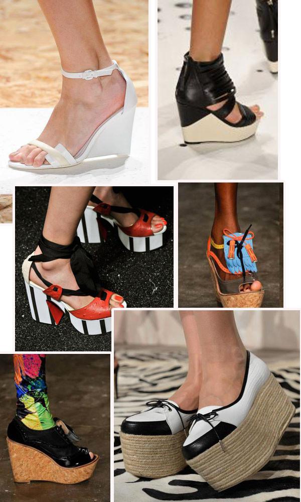 tendências de sapatos Anabela e plataforma para 2014