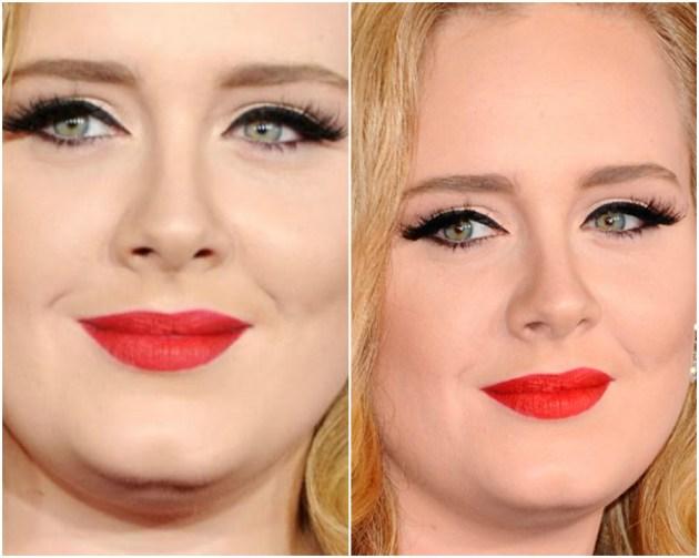 Adele make usando lábios com batom colorido