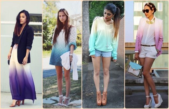 Ombré colors em Blusas, vestidos, shortinhos, camisas, camisetas, saias, vestidos, make, unhas, acessórios