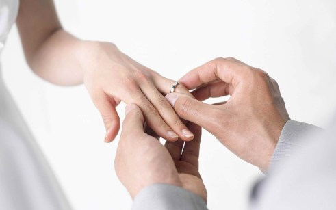 álbum de casamento - registro da troca de alianças