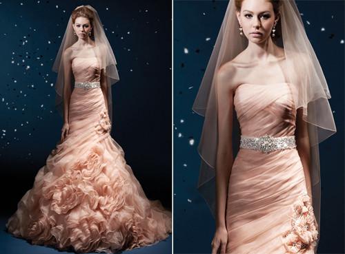 vestido de noiva tomara que caia cor rosa