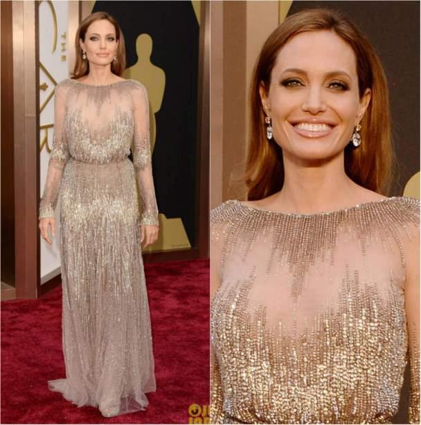 Entre os looks do Oscar 2014 destaca-se o de Angelina Jolie