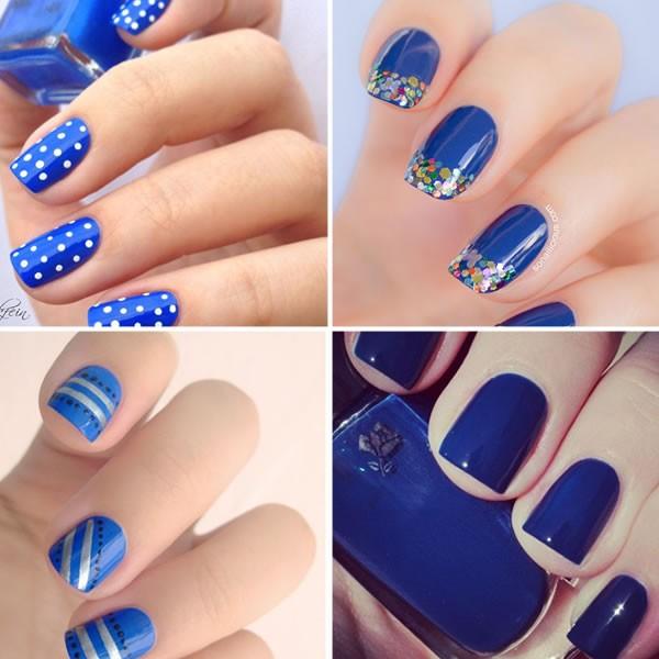 vários modelos de unhas azuis