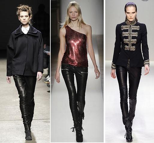 calças de couro estão na moda
