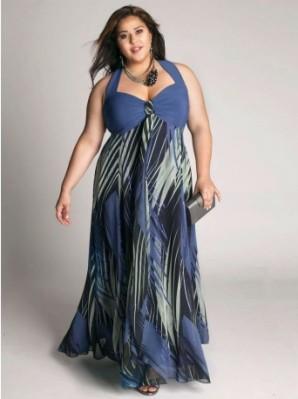 Foto de Vestido Plus Size azul estampado