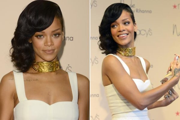 Rihanna aparecem fotos usando chokers
