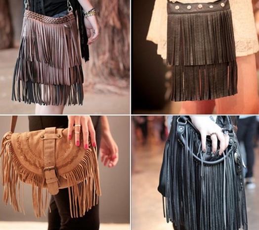 bolsas de franjas são tendências retrô