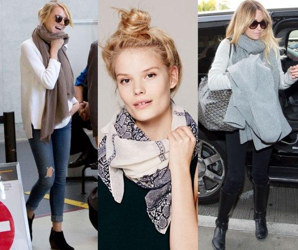 echarpe, o lenço e o cachecol no inverno 2015