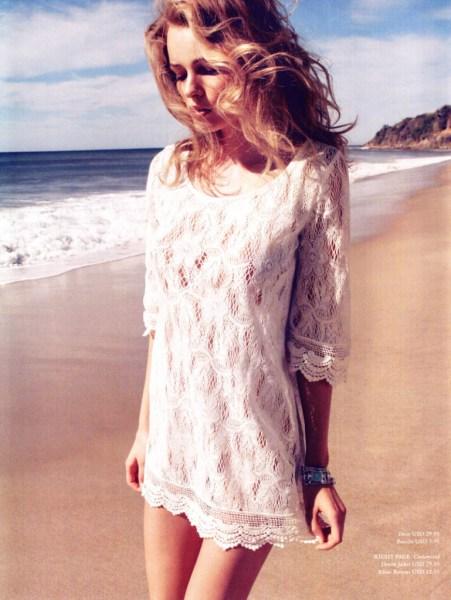 mulher com vestido de renda branco