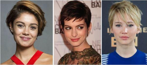 cabelo curto de Sophie Charlotte, Anne Hathaway e Jennifer Lawrence