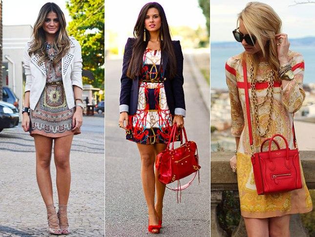 Sugestões de acessórios com vestidos estampados