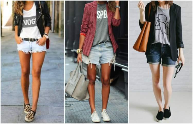 short jeans com tênis
