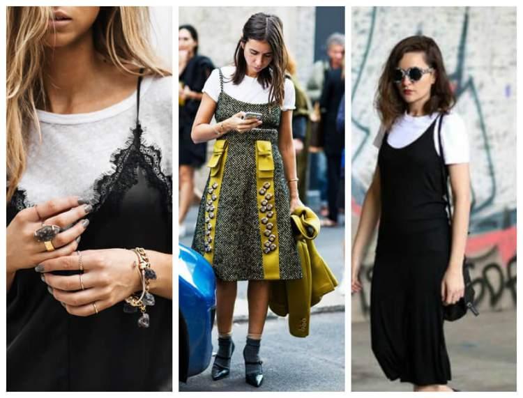 Sobreposição de vestido e t-shirt é uma tendência da moda outono/verão 2017