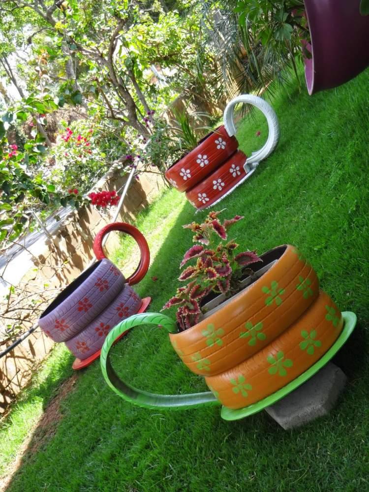 vasos de pneus para colocar plantas e flores