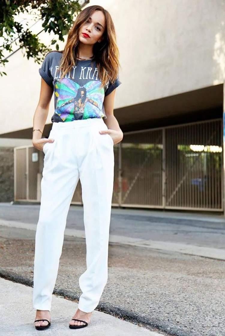 Camisa de banda com calça de alfaiataria