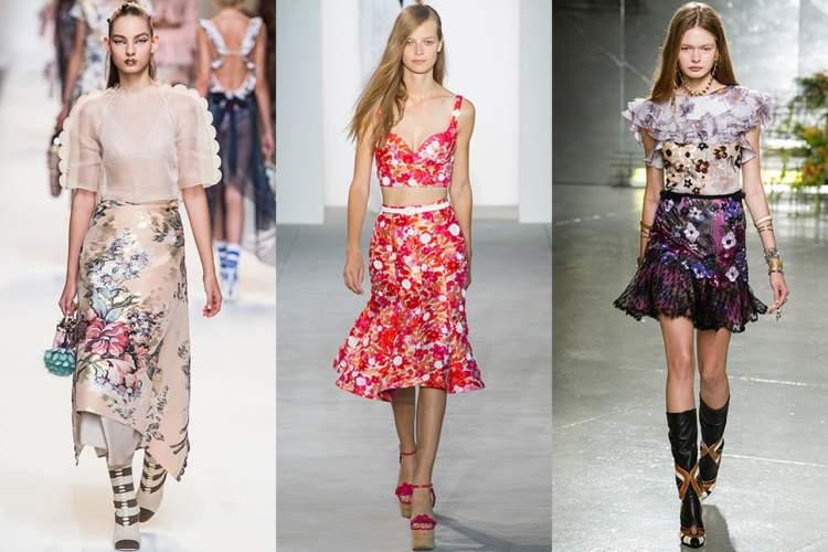 Estampas com flores grandes são tendências da moda primavera verão 2017-2018