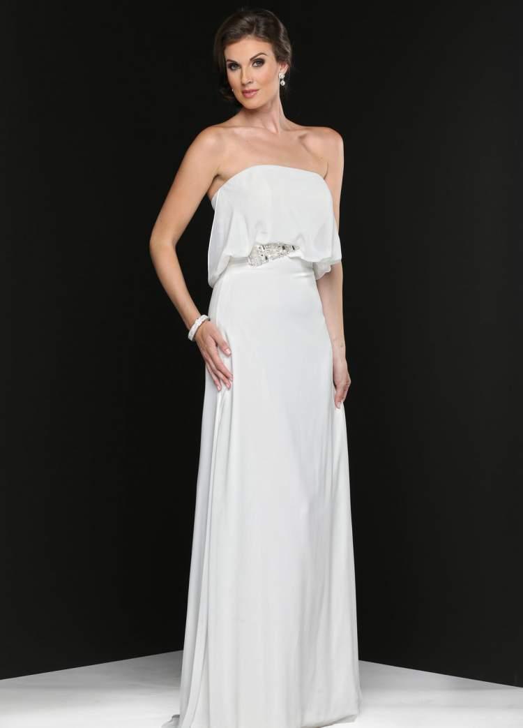 Modelo de vestido longo para noiva casar no civil