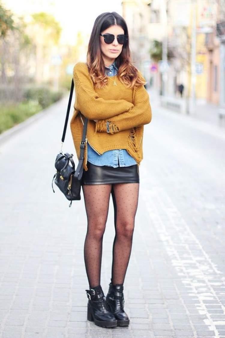 Saia de couro: maneiras de arrasar no look