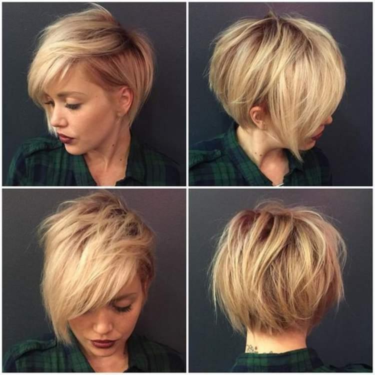 Corte de cabelo curto repicado com franja lateral
