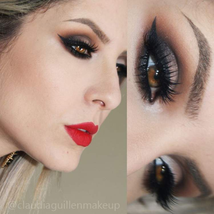Maquiagem para quem tem olhos castanhos: Degradê de sombra cinza chumbo