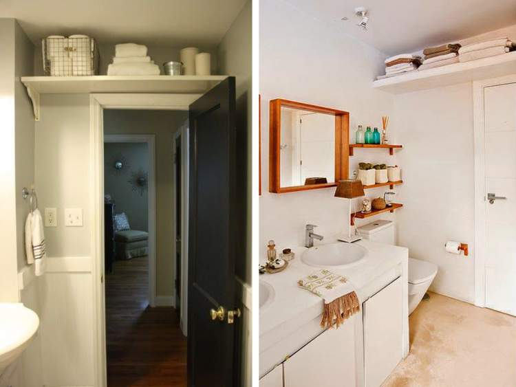 Prateleira sobre a porta para deixar um banheiro pequeno mais espaçoso