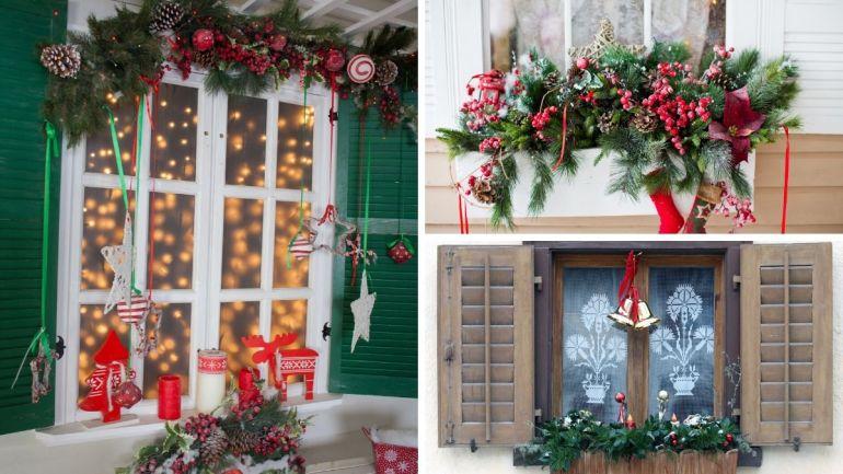 Janelas decoradas para o Natal
