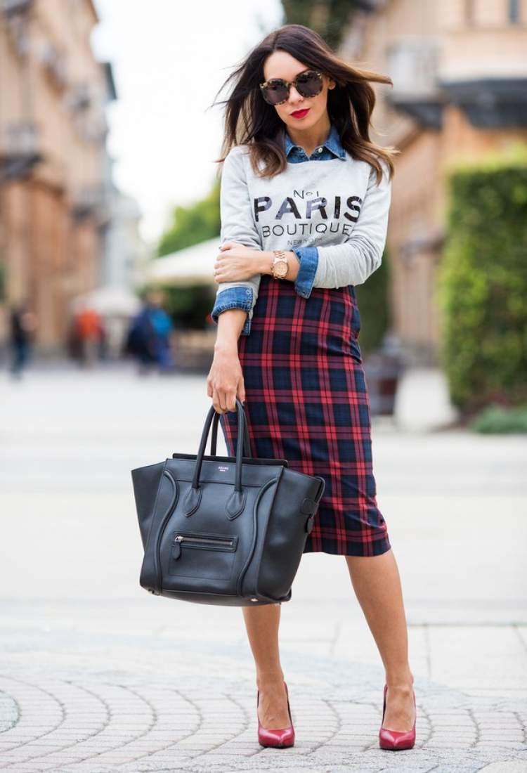 A Saia de lã xadrez colorido é uma das peças da moda inverno 2018 para incluir na lista de desejos