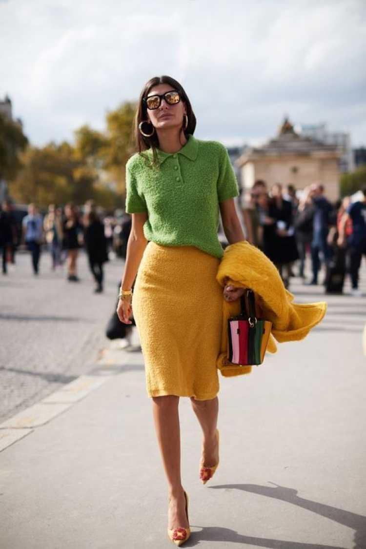As texturas ajudam a realçar o look verde e amarelo