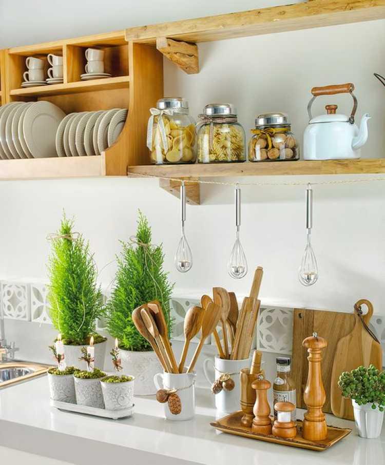plantas como objetos decorativos de uma cozinha pequena