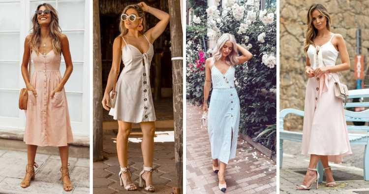 Modelo com botões frontais é um dos modelos de vestidos para apostar no verão 2019