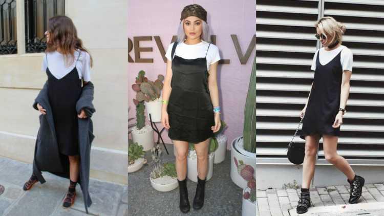 Regatas ousadas em sobreposição com camiseta básica é uma das tendências de beleza e moda 2019 das famosas