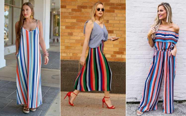 Peças fluidas com listras coloridas é uma das inspirações de look estiloso e fresco para o verão 2019