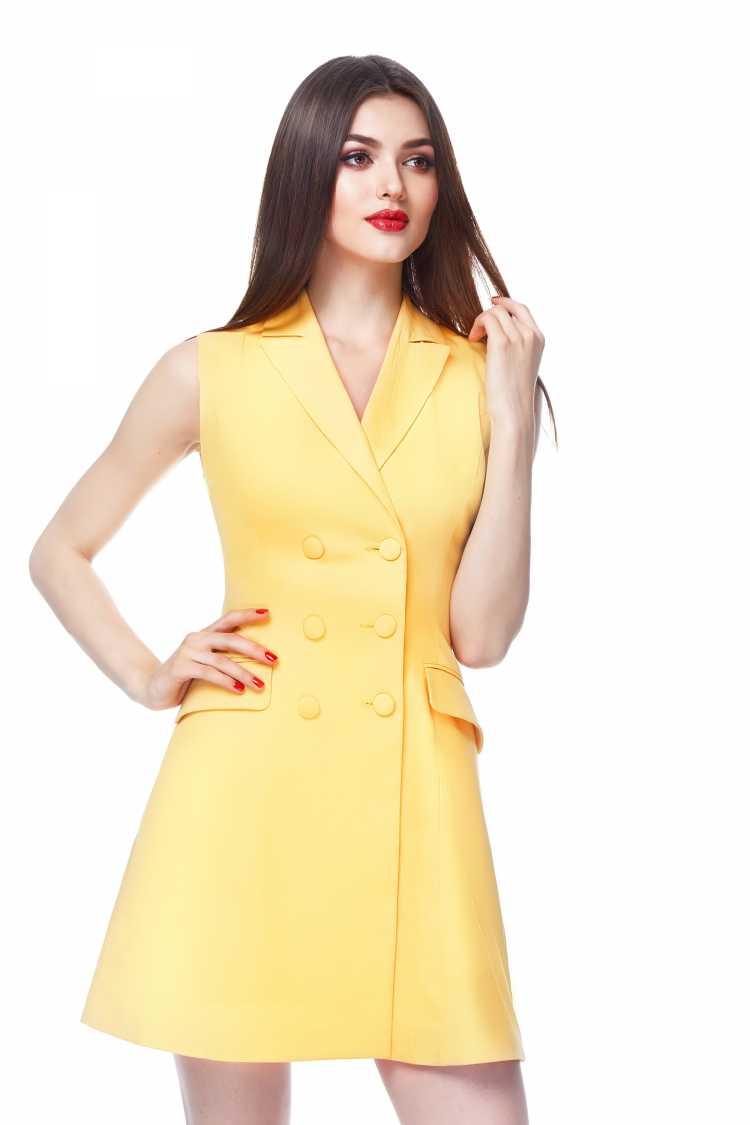 vestido de botões na frente lado a lado amarelo