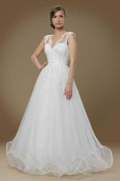 vestido de noiva perfeito com saia rodada e alças em renda