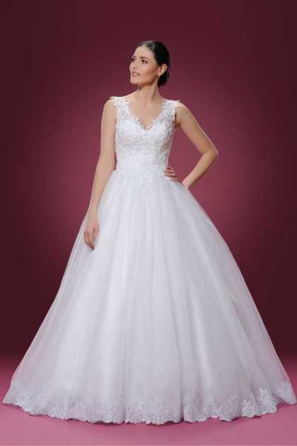vestido de noiva rodado com decote em v