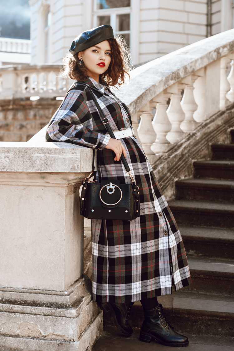 vestido longo xadrez